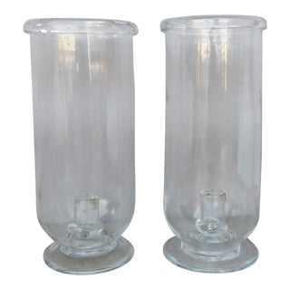 Vintage Tall Hurricane Candle Holders - a Pair For Sale