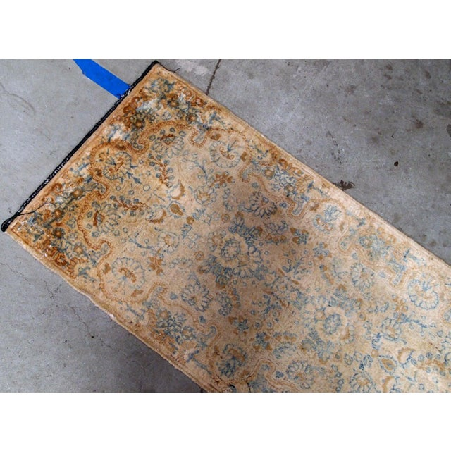 Hand made antique Persian kerman rug in beige and sky blue shades. The rug is from the beginning of 20th century in...