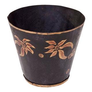 1970s Vintage Metal Flower Pot For Sale