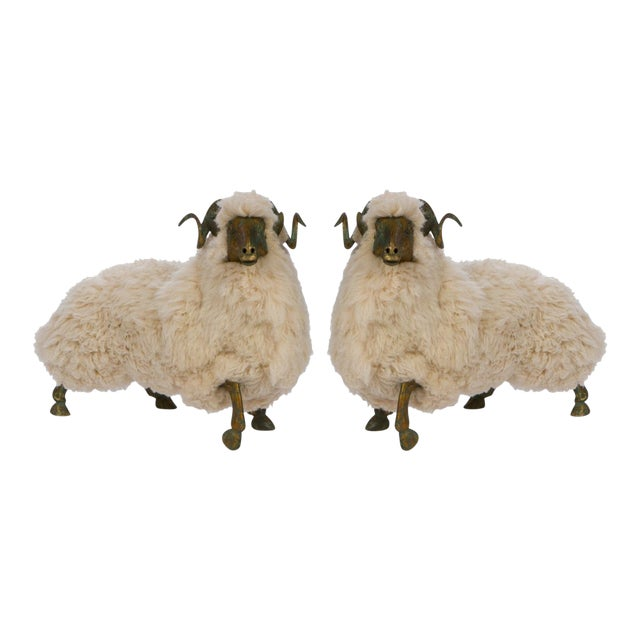 Pair of Lalanne style sheep in the style of Claude and Xavier Lalanne. The sculpture is made of solid bronze with lovely...