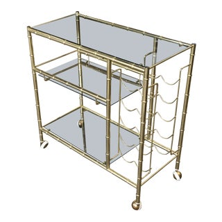 20th Century Hollywood Regency Brass + Glass Bar Cart For Sale