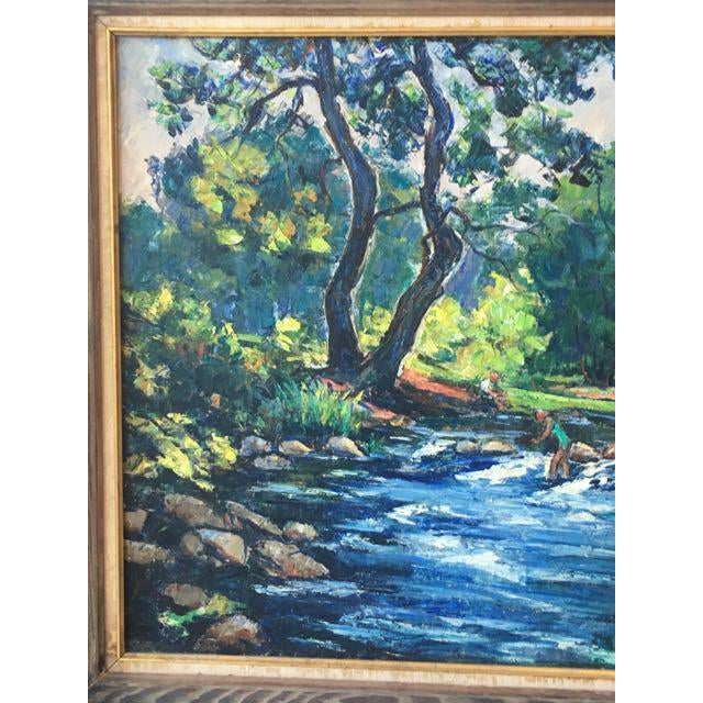 Americana Maine River Landscape Painting by William Fisher For Sale - Image 3 of 10