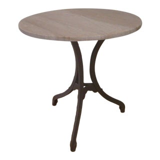 Round Iron Bistro Table Pink Granite Top Tripod Pedestal For Sale