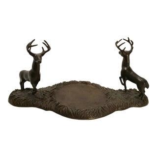 Vintage Figurative Brass Figural Deer Platform For Sale