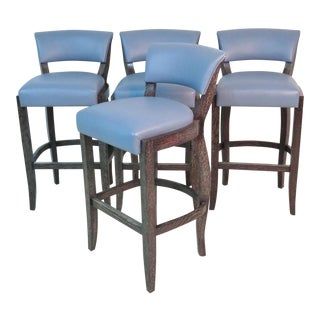 Michael Berman Blue Leather Bar Stools - Set of 4