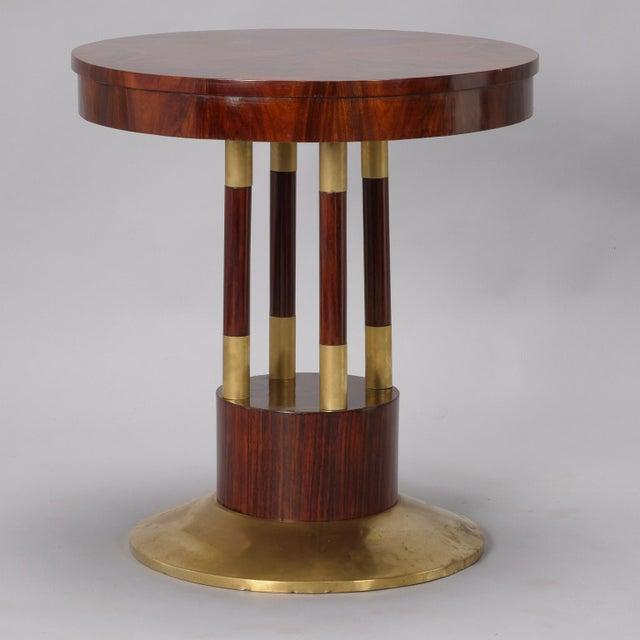 Round Jugendstil Rosewood and Brass Pedestal Table For Sale - Image 4 of 7