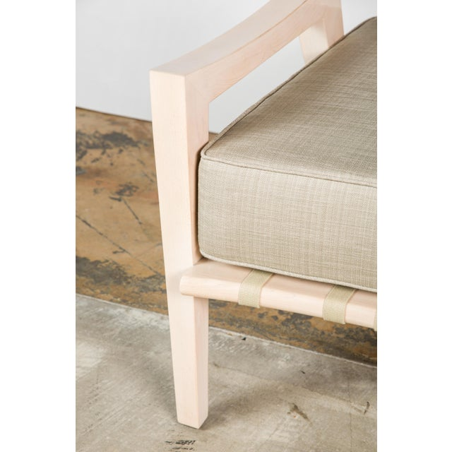 Cream Paul Marra Low Lounge Chair in Bleached Maple For Sale - Image 8 of 9