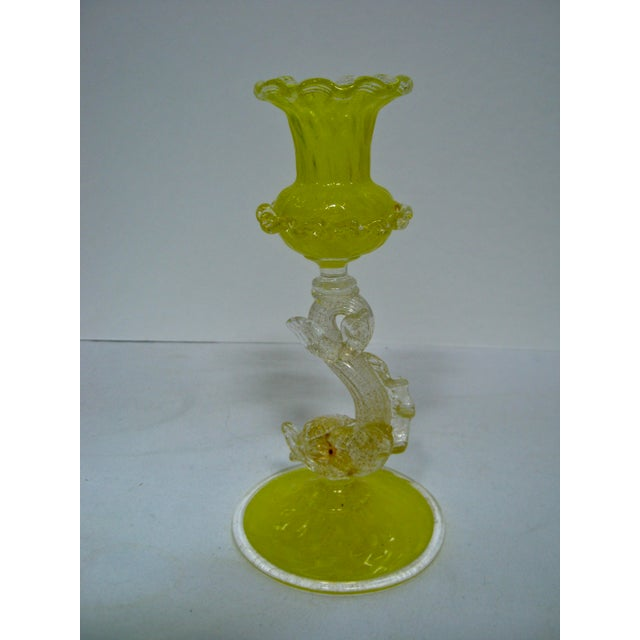 Gorgeous rare Italian hand blown canary yellow candlestick adorned with aventurine (gold flecks) with a playful dolphin....