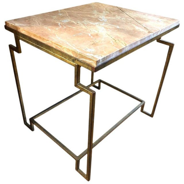 Art Deco Style Gilt Metal and Fossilized Limestone Side Table For Sale In Washington DC - Image 6 of 6