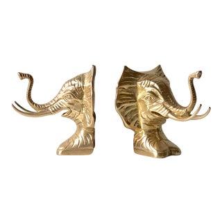 Vintage Large Brass Elephant Bookends For Sale