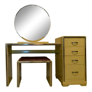 "Bel Geddes Machine Age ""Exposition Yellow"" Vanity For Sale"