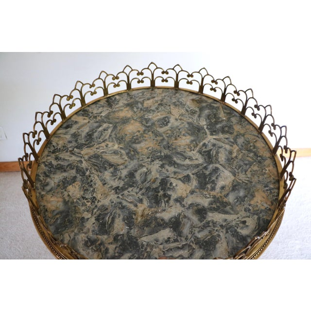 Gold Brass & Marble Center Table For Sale - Image 8 of 11