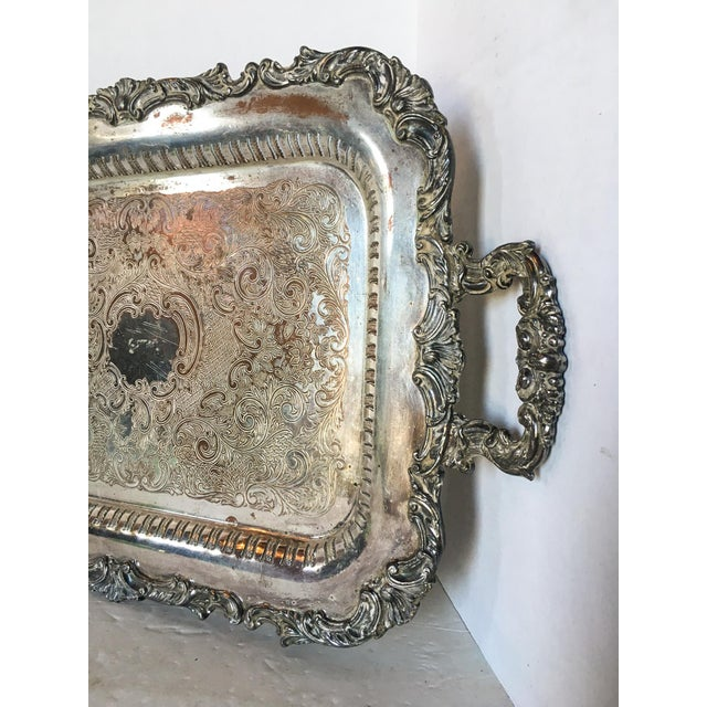 Antique Silverplate Filigree Tray With Handles For Sale - Image 4 of 6