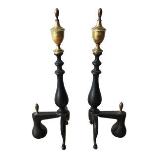 Brass Wrought Iron Andirons - a Pair For Sale