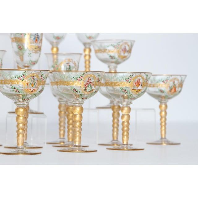 Renaissance Revival Enameled Venetian Glass Stemware / 23 Piece Group For Sale - Image 3 of 12