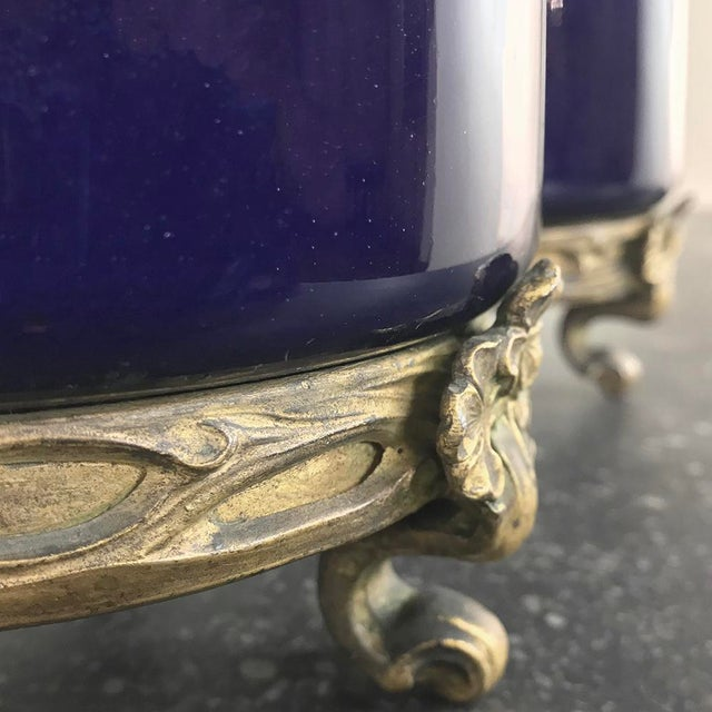 Pair 19th Century Cobalt Porcelain & Bronze Vases For Sale - Image 4 of 12