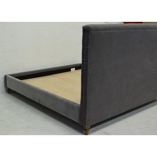 Restoration Hardware Chesterfield Tufted King Bed in Fog Vintage Velvet For Sale In Los Angeles - Image 6 of 8