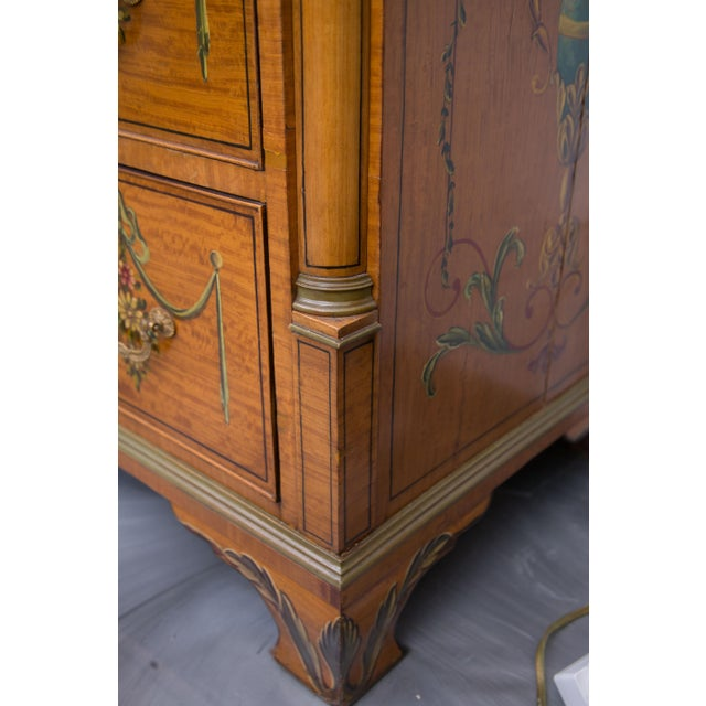 Early 20th Century English Adams Style Painted Satinwood Secretary For Sale - Image 5 of 10