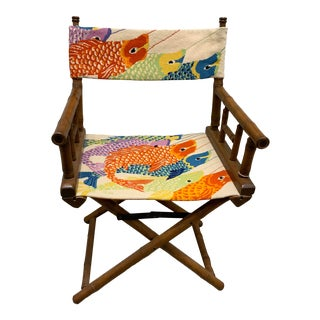 Vintage Needlepoint Director's Chair For Sale