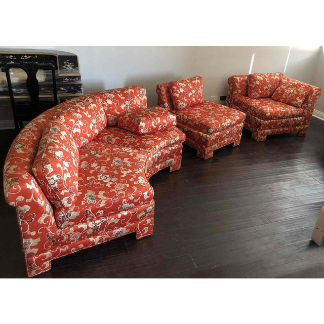 Vintage Chinoiserie Curved Sectional by Hickory Furniture For Sale In Chicago - Image 6 of 13