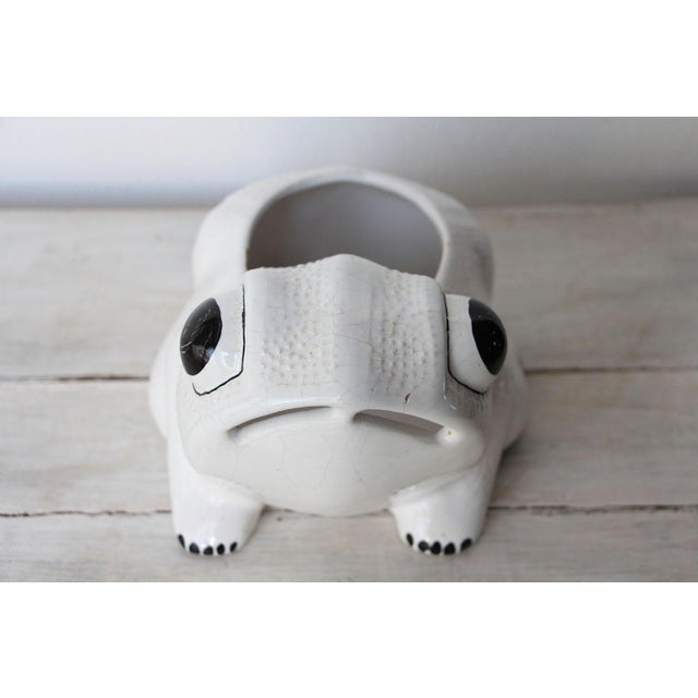 White 1970s Hobnail Frog Planter in the Style of Jean Roger For Sale - Image 8 of 13