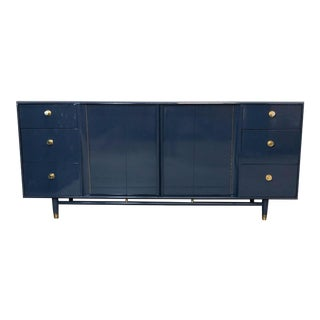 1960s Vintage Mid-Century Navy High-Gloss Lacquer Dresser For Sale