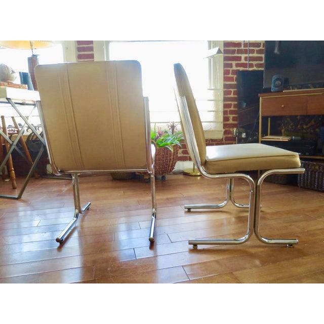 Tufted Tan Chrome Tubular Side Chair For Sale - Image 4 of 5