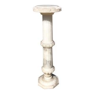 1960s Carved Light-Up Alabaster Pedestal For Sale