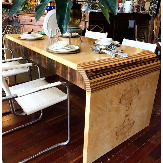 Vintage 1970's Henredon Olive Burl Waterfall Desk/Table For Sale - Image 12 of 13