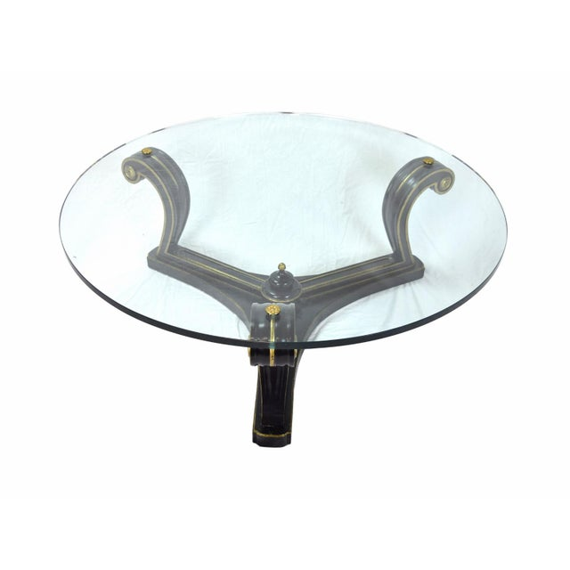 Empire 1960s Empire Ebonized Scroll Glass Top Coffee Table For Sale - Image 3 of 7