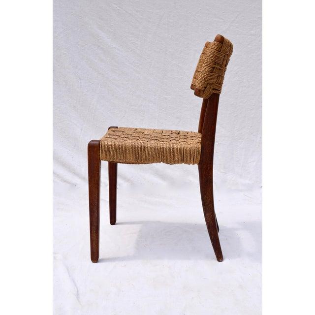 Teak Mid Century Modern Side Desk Rope Chair For Sale - Image 4 of 12