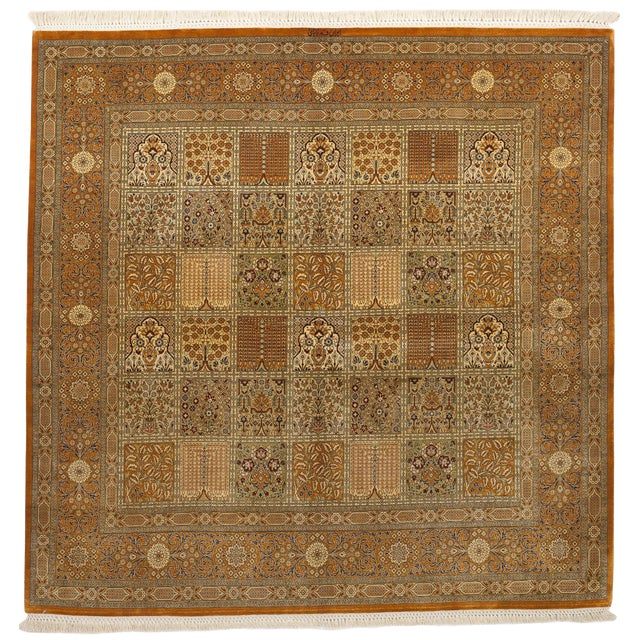 """Hand Knotted Pure Silk Persian Qom Rug - 4'10"""" x 4'10"""" - Image 1 of 9"""