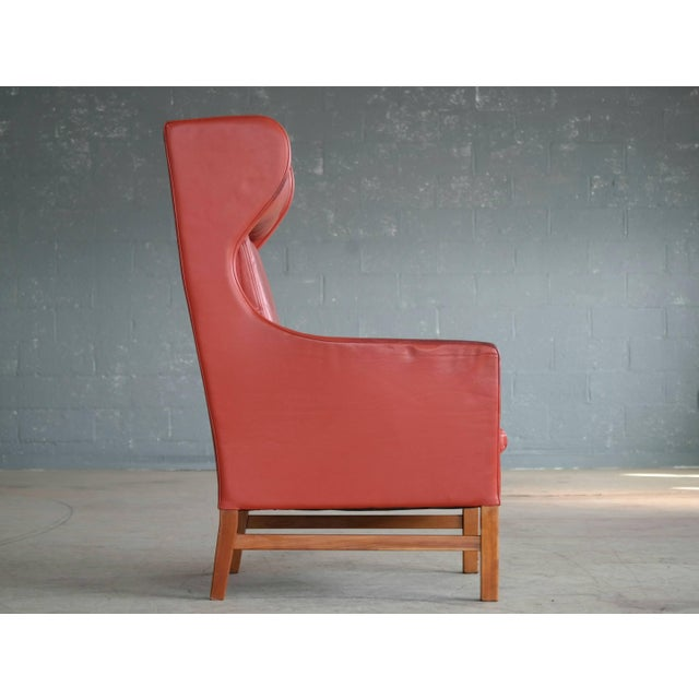 Animal Skin Svend Skipper Danish Wingback Armchair and Ottoman Model Admiral in Red Leather For Sale - Image 7 of 10