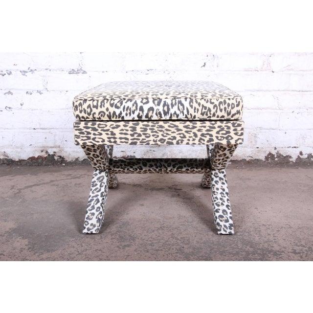 Patrick Frey X-Base Leopard Stool or Ottoman, Paris For Sale - Image 10 of 13