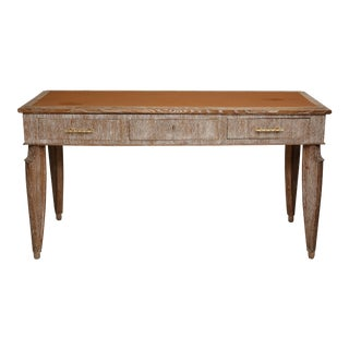 1940s French Cerused Oak Leather-Top Console/Writing Desk For Sale