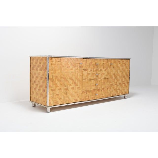 Hollywood Regency Bamboo Credenza With Faux Bamboo Chrome Frame Gabriella Crespi Style - 1970s For Sale - Image 3 of 10