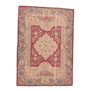 """Fine Vintage Hook Europian Rug, Hand Knotted, Circa 1950, Size 4'8""""x6'6"""" For Sale"""