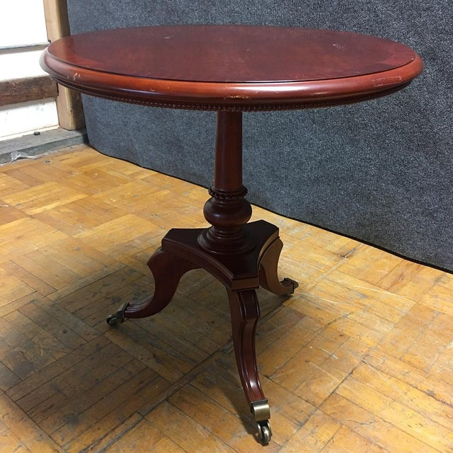 Traditional Cherry-Wood Drum Table W/ Brass Casters - Image 4 of 8