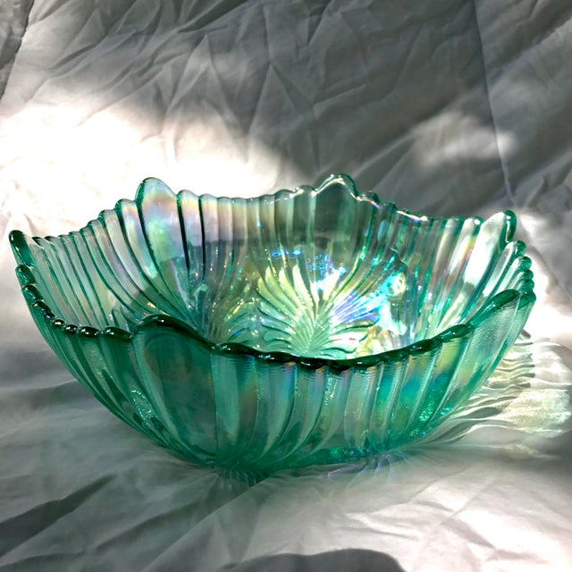 Vintage Fenton Aqua Carnival Glass Matching Bowl and Candlesticks Signed - 3 Piece Set For Sale - Image 10 of 11
