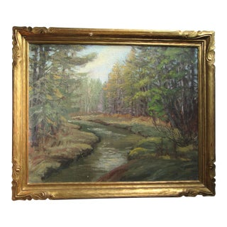 Forest Landscape With Stream Painting by George North Morris For Sale