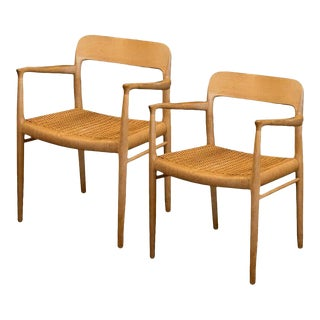 Pair of Niels Møller Model 56 Armchairs, Denmark, 1954 For Sale