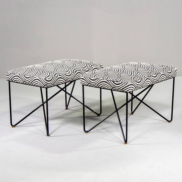 Italian Mid-Century Style Bench With Black Iron Hairpin Legs For Sale - Image 13 of 13