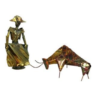 Brutalist Torch Cut Metal Bull and Matador Sculpture Mid Century Modern For Sale