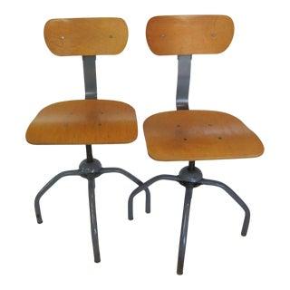 Vintage Industrial Adjustable-Height Swivel Drafting Stools - a Pair