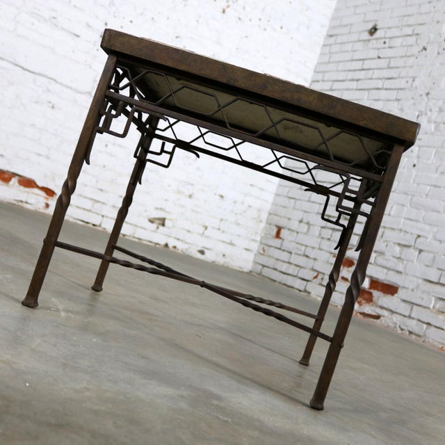 Fabulously beautiful Art Deco wrought iron frame table with a tile top in the style of one of the California potteries or...