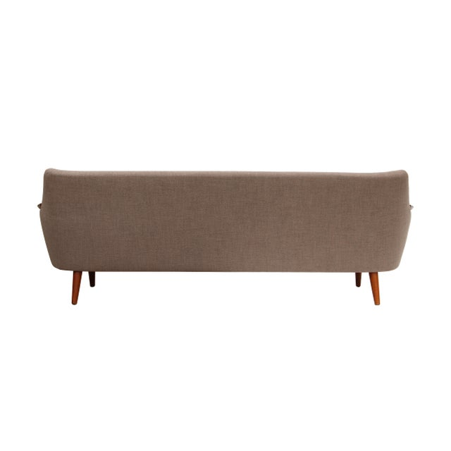 Norwegian Sofa with Sculpted Solid Teak Details For Sale - Image 10 of 12