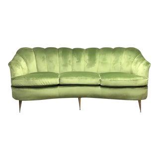 1950s Italian Mid-Century Modern Green Velvet and Brass Italian Curved Sofa For Sale