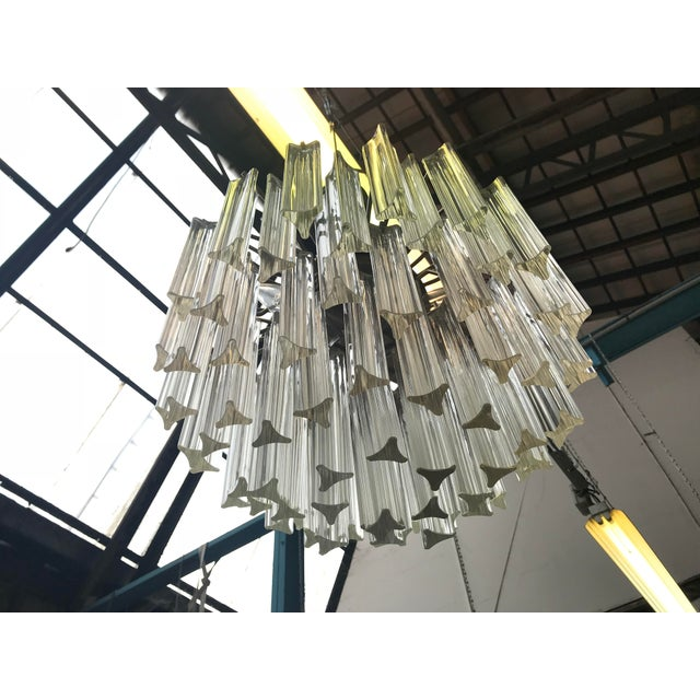 Italian 1960s Italian Murano Glass Prism Chandelier For Sale - Image 3 of 7