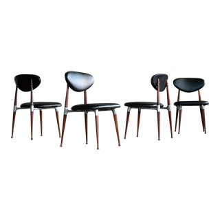 Dan Johnson Dining Chairs in Walnut and Aluminum for Shelby Williams - Set of 4