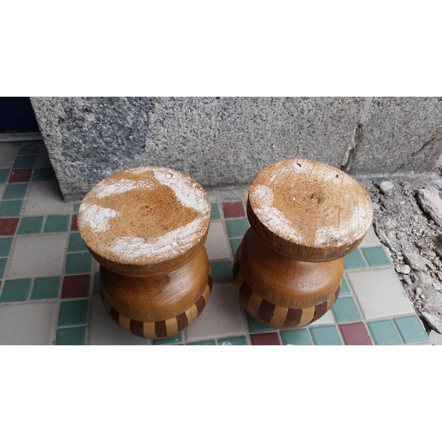 Mid 20th Century 20th Century Boho Chic Wooden Candle Holders - a Pair For Sale - Image 5 of 6